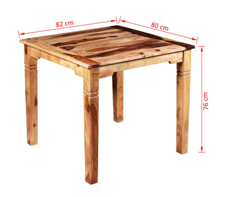 "vidaXL Dining Table Solid Sheesham Wood 32.3""x31.5""x30""[8/8]"