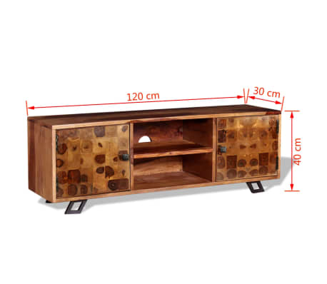 vidaXL TV spintelė, tvirta rausvosios dalbergijos mediena, 120x30x40cm[11/11]