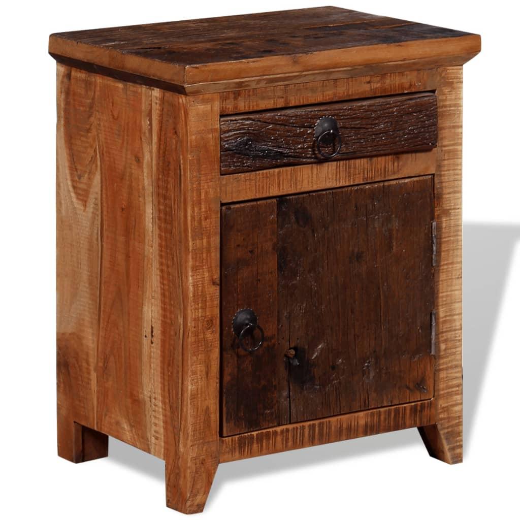 vidaXL Noční stolek masivní akácie a pražcové dřevo