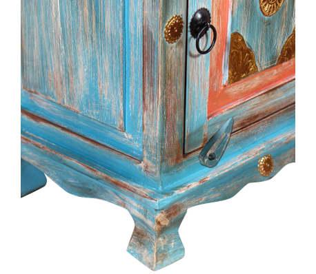 vidaXL Noptieră din lemn masiv de mango, albastru[8/10]