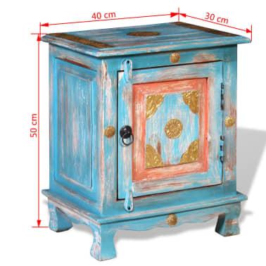 vidaXL Noptieră din lemn masiv de mango, albastru[9/10]