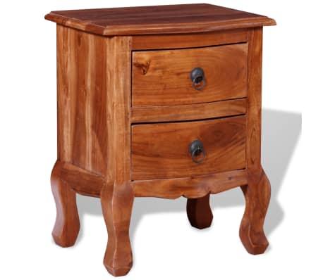 vidaXL Naktinis staliukas su stalčiais, tvirta akacijos mediena[2/10]