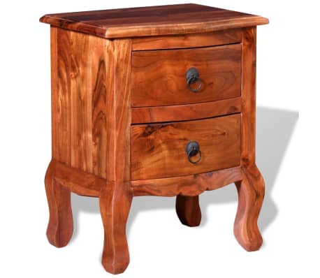 vidaXL Nightstand with Drawers Solid Acacia Wood[4/10]