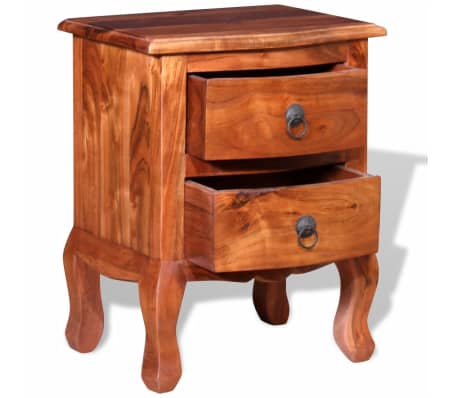 vidaXL Nightstand with Drawers Solid Acacia Wood[6/10]