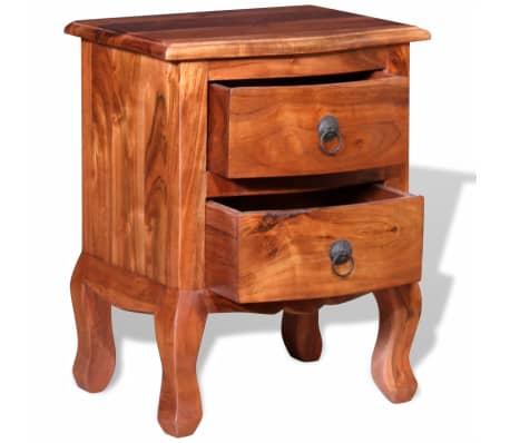 vidaXL Naktinis staliukas su stalčiais, tvirta akacijos mediena[6/10]