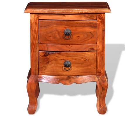 vidaXL Naktinis staliukas su stalčiais, tvirta akacijos mediena[7/10]