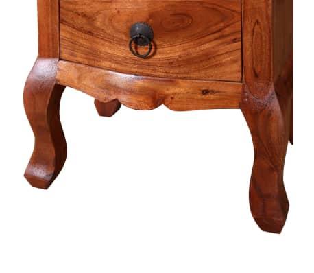vidaXL Naktinis staliukas su stalčiais, tvirta akacijos mediena[9/10]