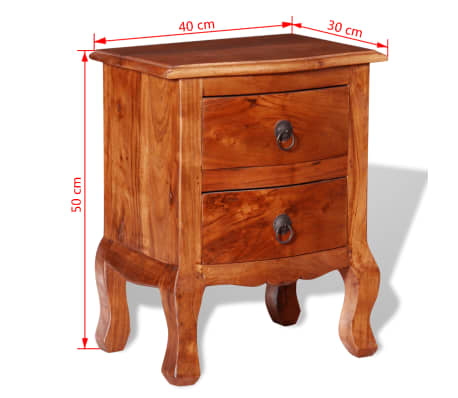 vidaXL Nightstand with Drawers Solid Acacia Wood[10/10]
