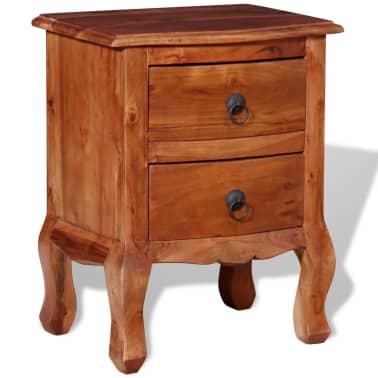 vidaXL Naktinis staliukas su stalčiais, tvirta akacijos mediena[3/10]