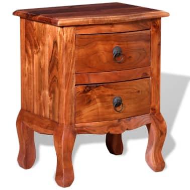 vidaXL Naktinis staliukas su stalčiais, tvirta akacijos mediena[4/10]
