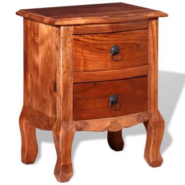 vidaXL Naktinis staliukas su stalčiais, tvirta akacijos mediena[5/10]