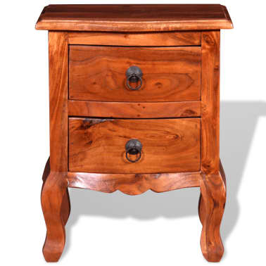 vidaXL Nightstand with Drawers Solid Acacia Wood[7/10]