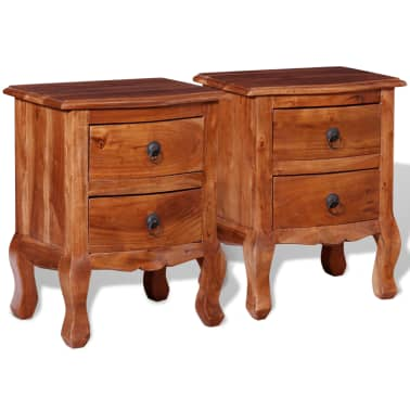 vidaXL Nightstands with Drawers 2 pcs Solid Acacia Wood[2/10]