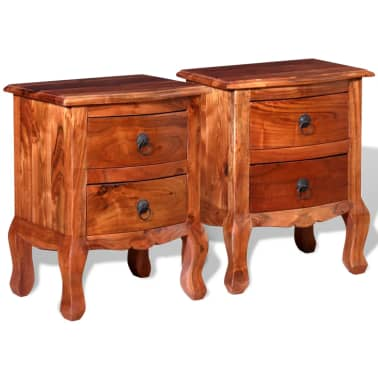 vidaXL Nightstands with Drawers 2 pcs Solid Acacia Wood[4/10]