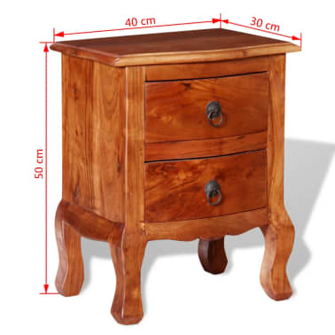 vidaXL Nightstands with Drawers 2 pcs Solid Acacia Wood[10/10]