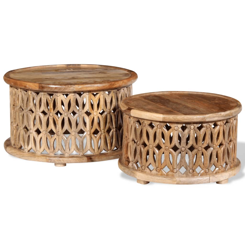 vidaXL Set măsuță de cafea, 2 buc., lemn masiv de mango poza vidaxl.ro