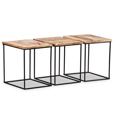 "vidaXL Coffee Table Solid Mango Wood 18.9"" x18.9""x15.7""[7/15]"
