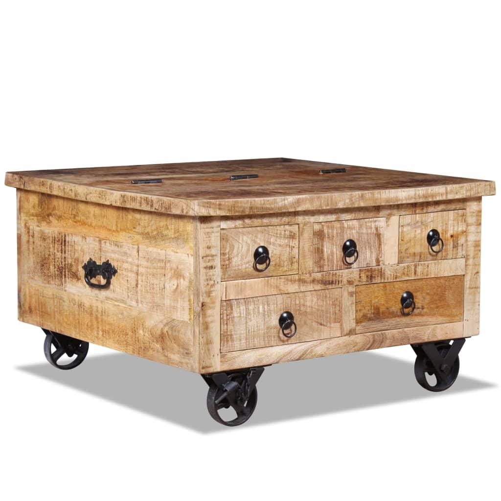 vidaXL Konferenční stolek, hrubé mangovníkové dřevo, 70x70x40 cm