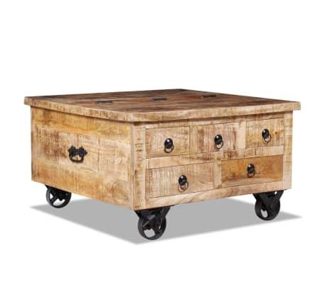 vidaXL Kavos staliukas, neapdorota mango mediena, 70x70x40cm