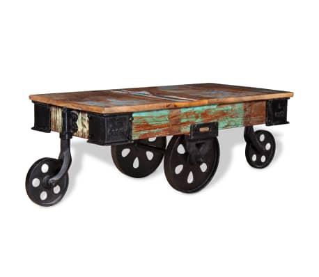 vidaXL Kavos staliukas, masyvi perdirbta mediena, 90x45x35cm