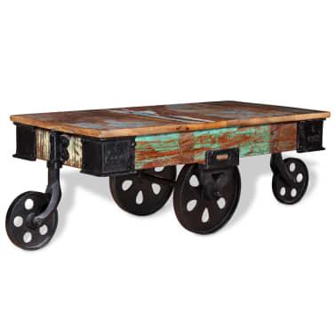 vidaXL Kavos staliukas, masyvi perdirbta mediena, 90x45x35cm[1/8]