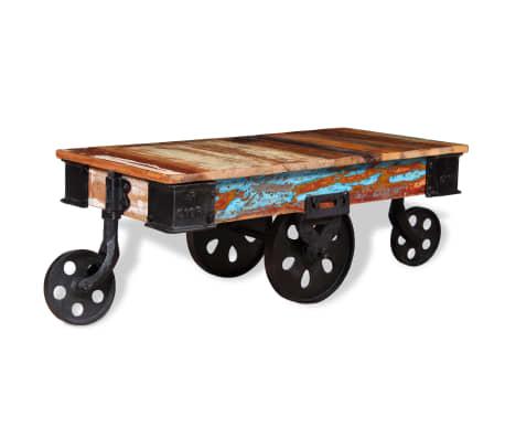 vidaXL Kavos staliukas, masyvi perdirbta mediena, 90x45x35cm[4/8]