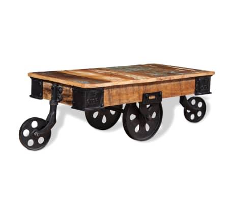 vidaXL Kavos staliukas, masyvi perdirbta mediena, 90x45x35cm[5/8]