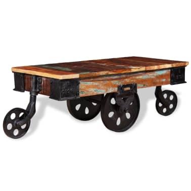 vidaXL Kavos staliukas, masyvi perdirbta mediena, 90x45x35cm[3/8]