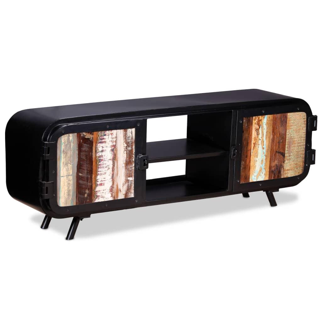 retro style tv cabinet vintage reclaimed wood media lowboard sideboard storage ebay. Black Bedroom Furniture Sets. Home Design Ideas