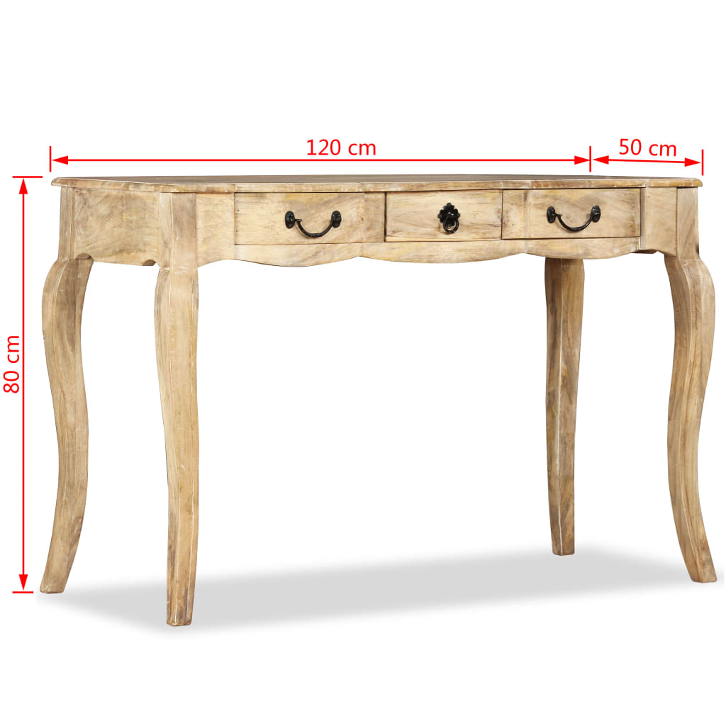 vidaXL Konzolni Stol od Masivnog Drva Manga 120x50x80 cm