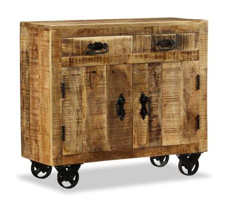acheter vidaxl buffet avec 2 tiroirs et 1 armoire bois de manguier brut pas cher. Black Bedroom Furniture Sets. Home Design Ideas