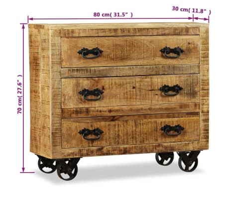 vidaXL Buffet avec 3 tiroirs Bois de manguier brut[12/12]
