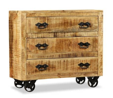 vidaXL Buffet avec 3 tiroirs Bois de manguier brut[4/12]