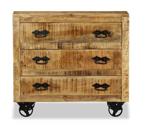vidaxl sideboard mit 3 schubladen raues mangoholz im. Black Bedroom Furniture Sets. Home Design Ideas