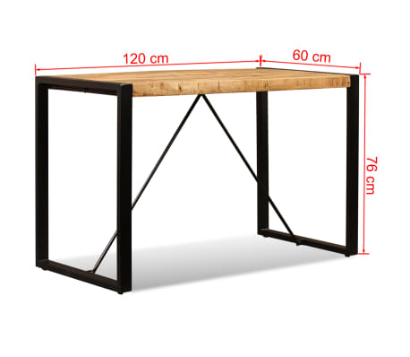 "vidaXL Dining Table Solid Rough Mango Wood 47.2""[12/12]"