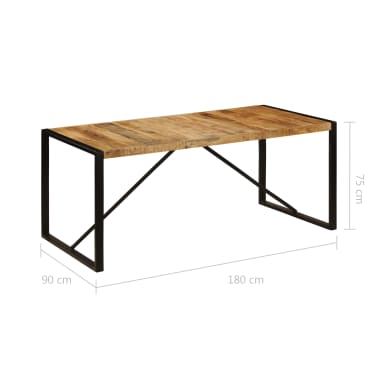 "vidaXL Dining Table Solid Rough Mango Wood 70.9""[6/12]"