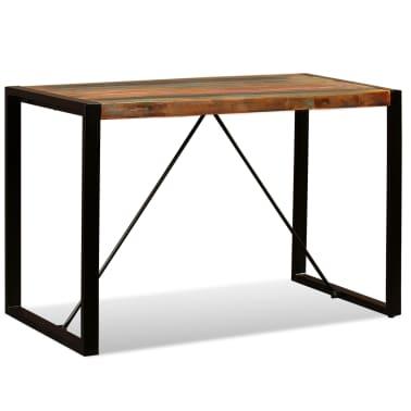 vidaXL Valgomojo stalas, masyvi perdirbta mediena, 120cm[1/12]