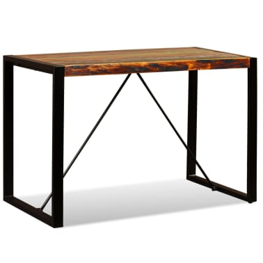 vidaXL Valgomojo stalas, masyvi perdirbta mediena, 120cm[2/12]