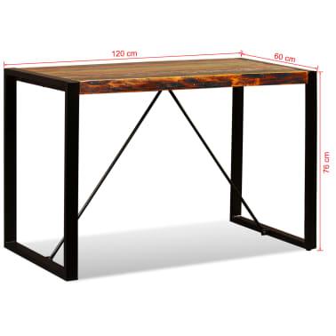 vidaXL Valgomojo stalas, masyvi perdirbta mediena, 120cm[12/12]