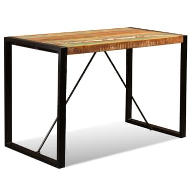 vidaXL Valgomojo stalas, masyvi perdirbta mediena, 120cm[5/12]