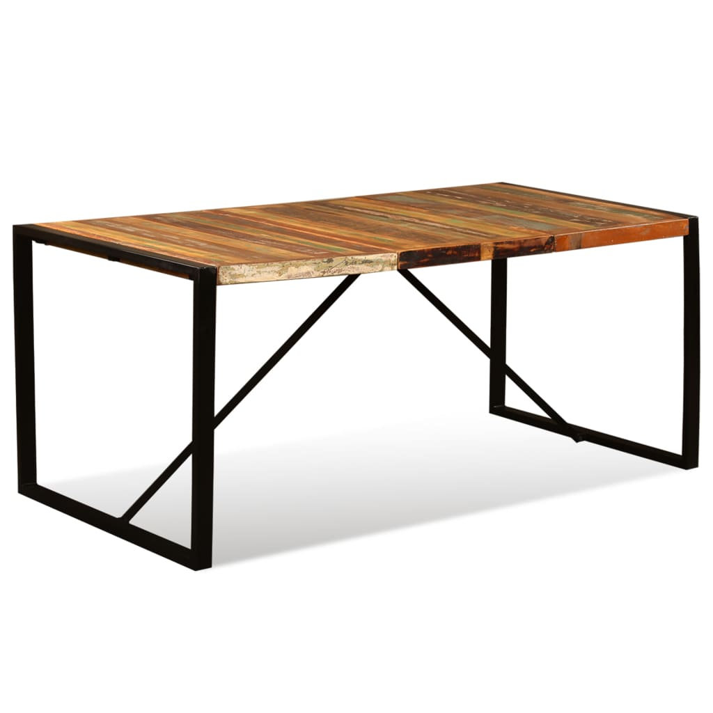 Square Rectangular Modern Dining Table Legs Industrial: Dining Table Solid Reclaimed Wood Kitchen Rectangle Retro