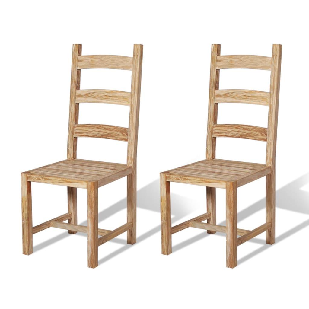 vidaXL Καρέκλες Τραπεζαρίας Μασίφ 2 τεμ. 45,5x53x111 εκ. από Ξύλο Teak