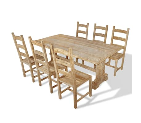 vidaXL Seven Piece Massive Dining Table and Chair Set Teak