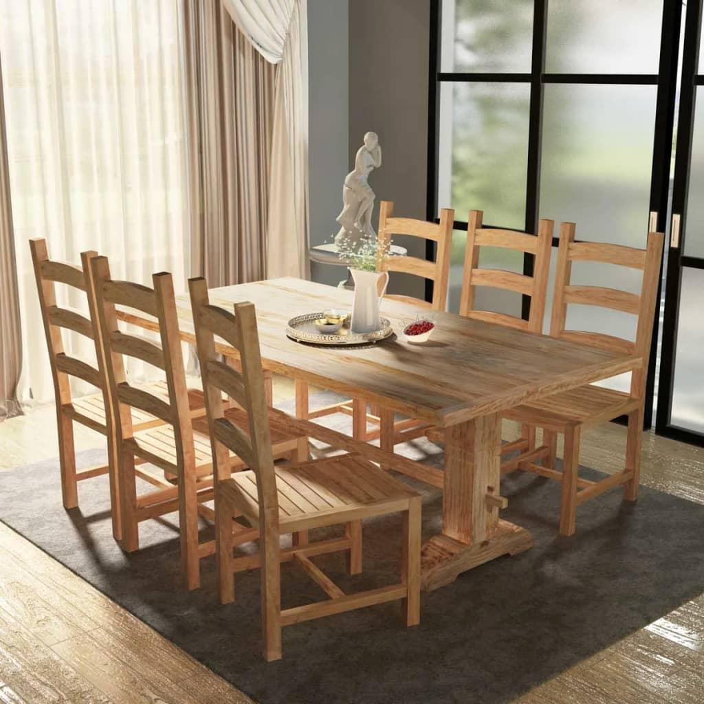 99244002 7-tlg. Essgruppe Tisch mit Stühlen Massivholz Teak