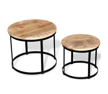 vidaXL Coffee Table Set 2 Pieces Rough Mango Wood Round 40/50 cm[2/7]