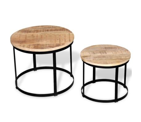 vidaXL Coffee Table Set 2 Pieces Rough Mango Wood Round 40/50 cm[3/7]