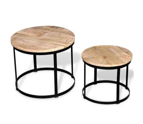 vidaXL Coffee Table Set 2 Pieces Rough Mango Wood Round 40/50 cm[5/7]