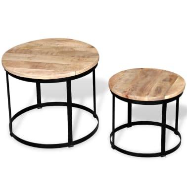 vidaXL Coffee Table Set 2 Pieces Rough Mango Wood Round 40/50 cm[4/7]