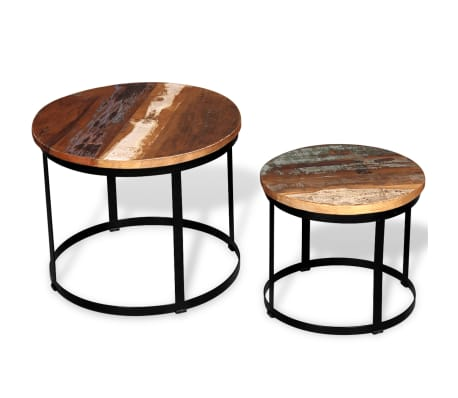 vidaXL 2 konferenční stolky masivní recyklované dřevo kulaté 40cm/50cm
