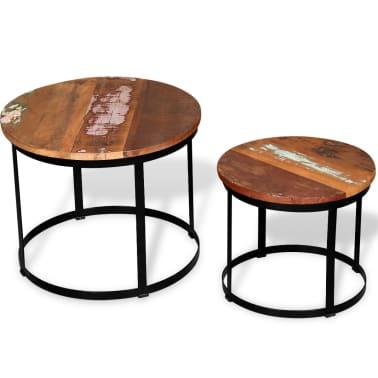 Vidaxl Dwa Stoliki Do Kawy Z Odzyskanego Drewna Okrągłe 40